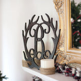 Lifestyle close up Wood Antlers Single Initial