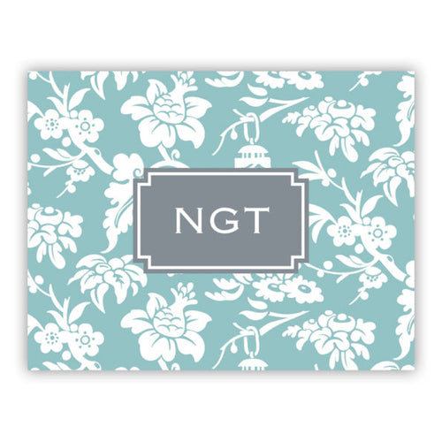 Personalized Folded Note Cards Anna Floral Slate