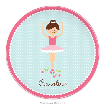 Set of 2 Personalized Plate Ballerina Portrait