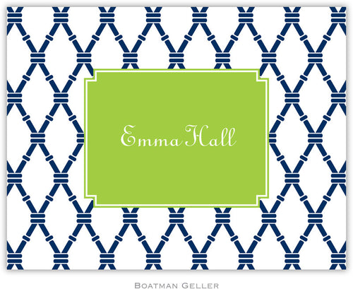 Bamboo Navy & Green Personalized stationery