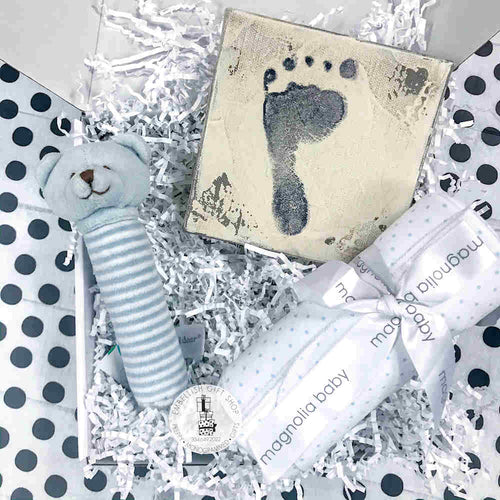 Personalized Baby Blanket + Bear Rattle and Foot Stamp