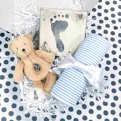 Personalized Striped Baby Blanket + Footprint Stamp Set and Bear Rattle