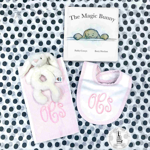 Personalized Bib  and Burp + Bunny Gift Set