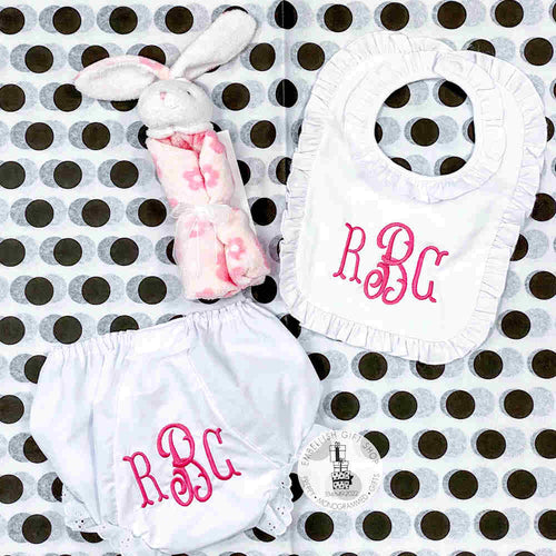 Personalized Bib and Bloomer + Bunny Gift Set
