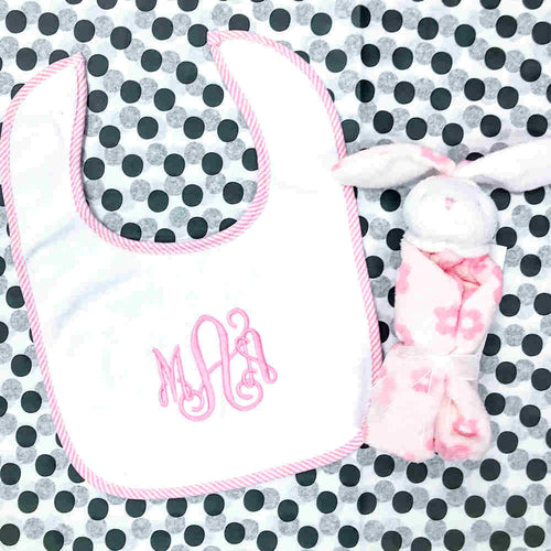 Personalized Pink Trim Bib & Bunny Lovie Gift Set
