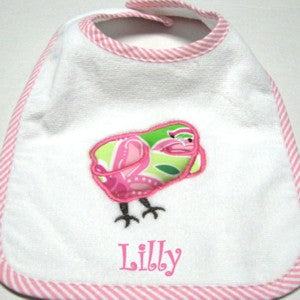 Personalized Preppy Chick Baby Bib and Burp Set