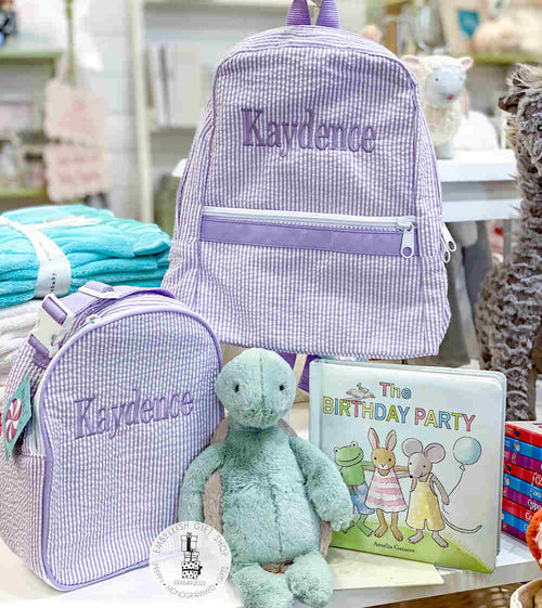 Personalized Backpack + Gumdrop Lunch and Birthday Book + Turtle Gift Set