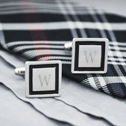 Personalized Black Border Designer Cuff Links
