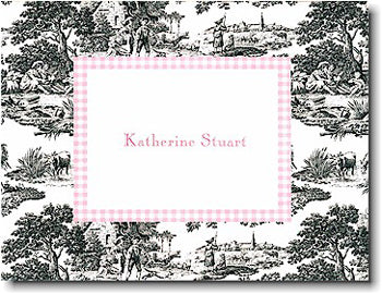 Black Toile with Pink Check Personalized stationery