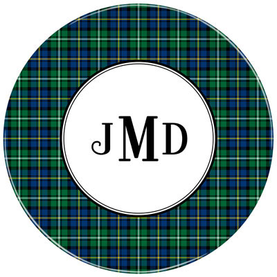 Set of 2 Personalized Plate Black Watch Plaid