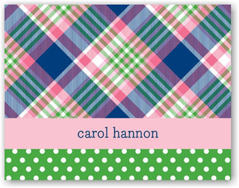 Block Plaid Navy Personalized stationery