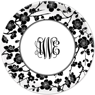 Set of 2 Personalized Plate Blossom Black