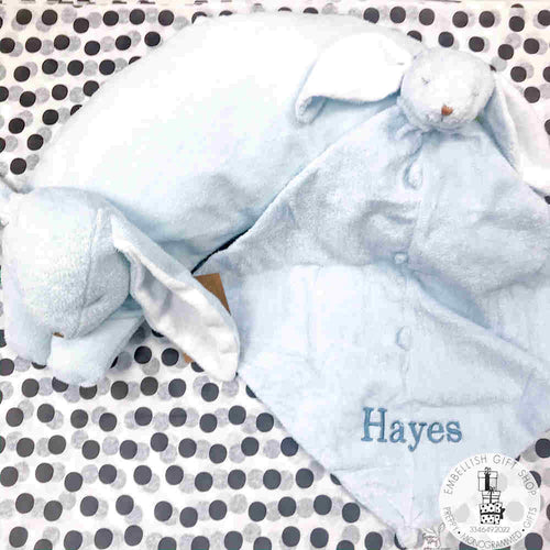 Personalized Blue Bunny Baby Pillow & Lovie Gift Set