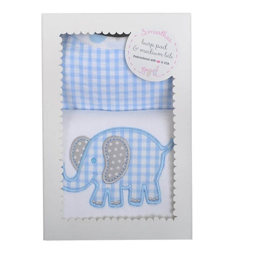 Blue Elephant Bib & Burp Box Set