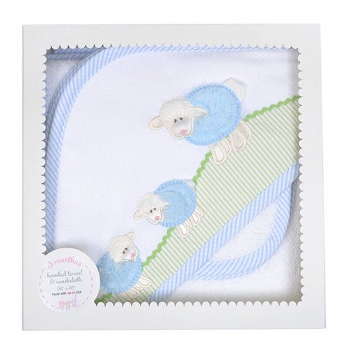 Blue Lamb Hooded Towel & Washcloth Set