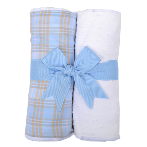 Personalized Blue Plaid Set of 2 Fabric Burp Pads