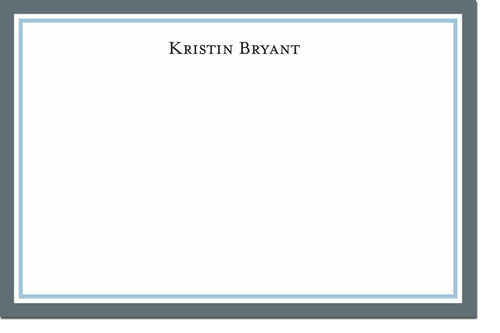 Border Charcoal and Light Blue Personalized stationery