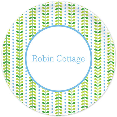 Set of 2 Personalized Plate Bright Vine Green and Blue