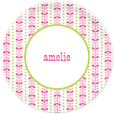 Set of 2 Personalized Plate Bright Vine Pink and Green