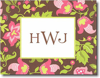 Brown Floral personalized stationary