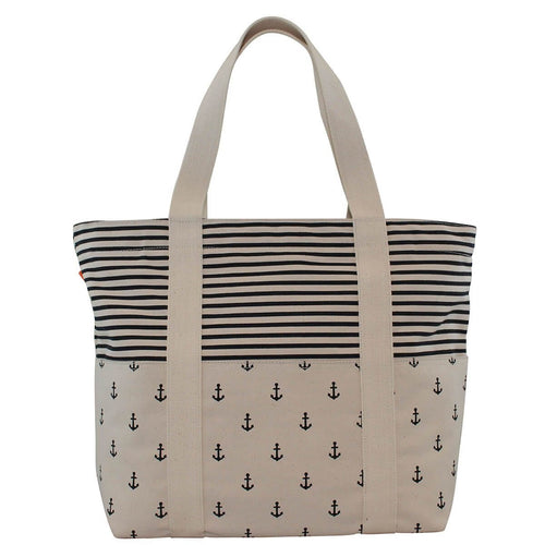 Carry All Tote Bag Navy Anchors and Navy Stripes