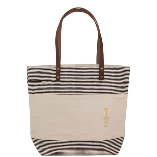 Casual Tote Gray Stripes and Leather