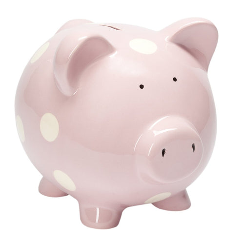 Classic Piggy Bank. Pastel Pink