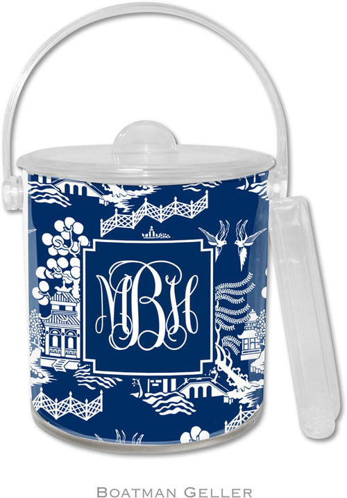 Chinoiserie Navy Personalized Ice Bucket