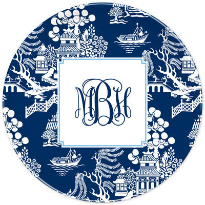 Set of 2 Personalized Plate Chinoiserie Navy