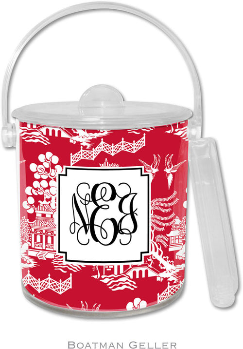 Chinoiserie Red Personalized Ice Bucket