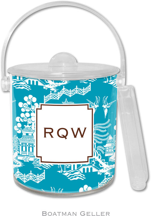 Chinoiserie Turquoise Personalized Ice Bucket