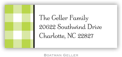 Classic Check Lime Personalized Address Label
