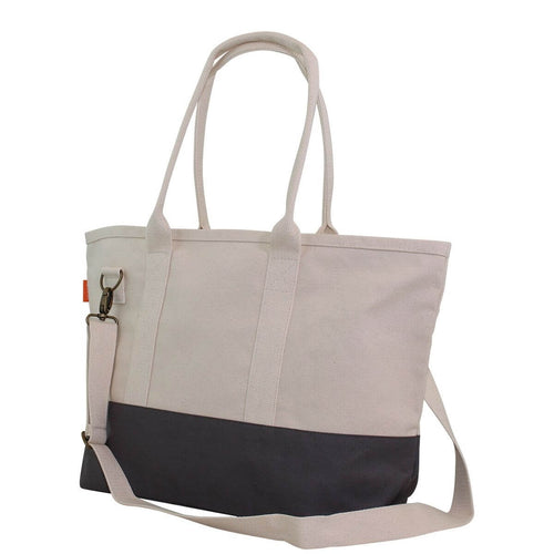 Side View Color block Utility Tote Gray