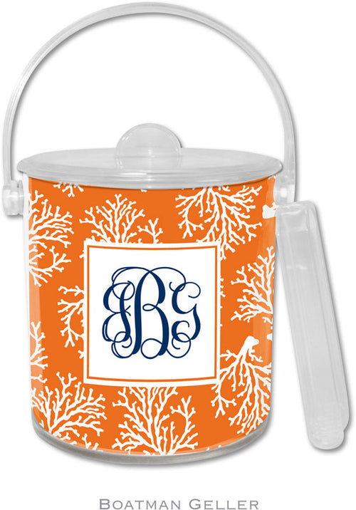 Coral Repeat Personalized Ice Bucket