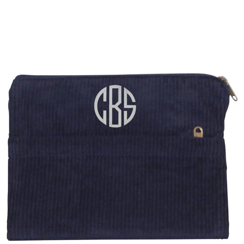 Corduroy Pocket Clutch Choose Color Navy with Monogram