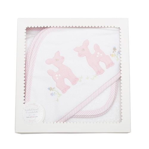 Pink Deer Hooded Towel & Washcloth Set