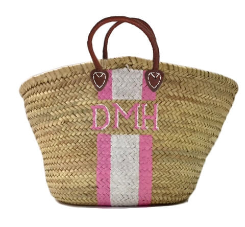 Diana Hand Painted Stripe Straw Monogrammed Bags