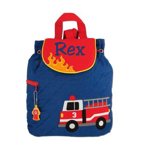 Personalized Quilted Toddler Backpack Firetruck