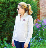 Monogrammed Ladies Heathered Fleece Pullover- Choose Color