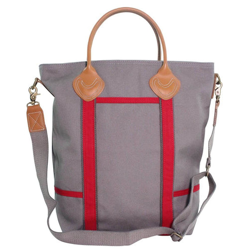 Canvas Colored Flight Bag Gray and Red