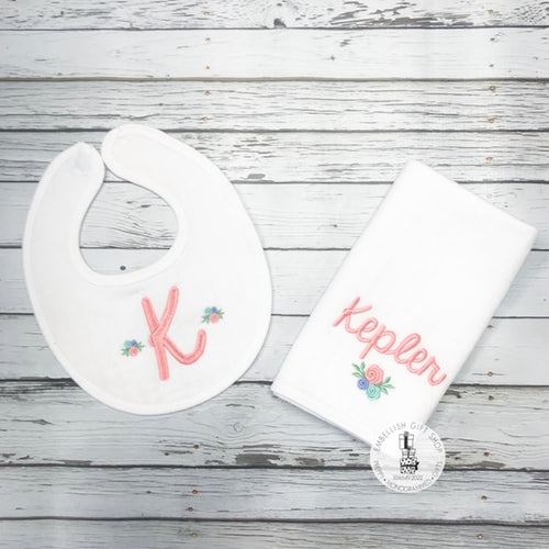 Floral Bib and Burp Gift Set