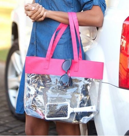 Lifestyle Clear Tote Choose Color hot pink