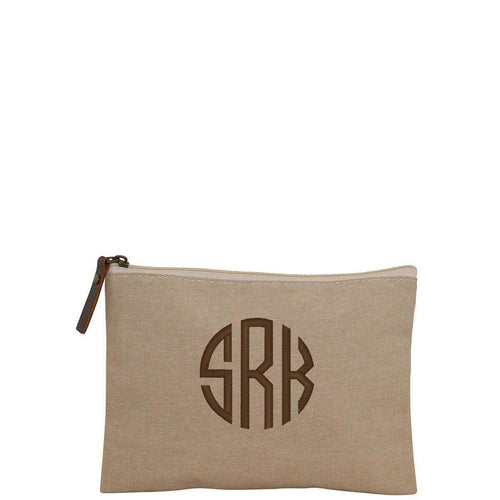 Monogram Jute Cosmetic Bag