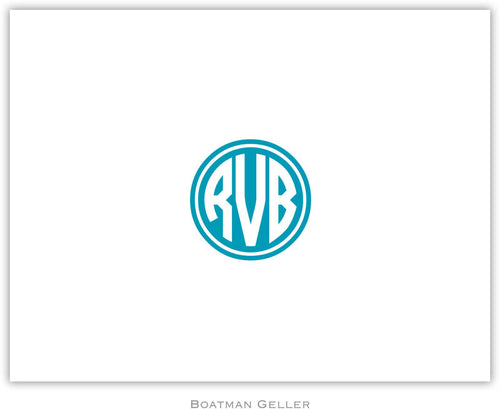 Kessler Circle Monogram Turquoise personalized stationery