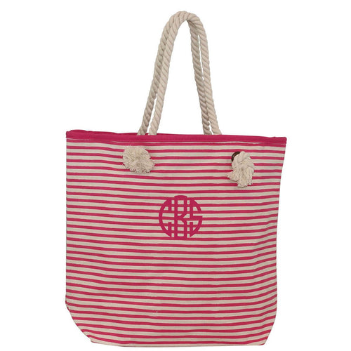 Monogram Knotted Rope Tote Stripes Hot Pink