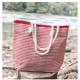 Lifestyle Knotted Rope Tote Stripes Red