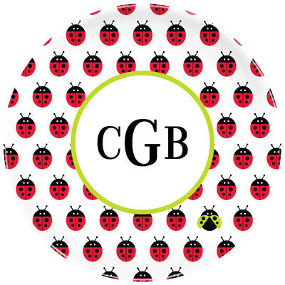 Set of 2 Personalized Plate Ladybug Repeat