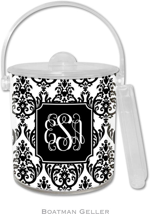 Madison Damask White with Black Personalized Ice Bucket
