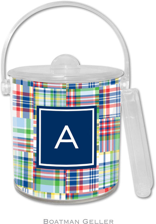 Madras Patch Blue Personalized Ice Bucket
