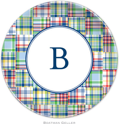 Set of 2 Personalized Plate Madras Patch Blue